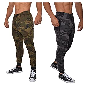 YoungLA Men's Cotton Camouflage Joggers Sweatpants for Gym Athletic Training Pants Workout