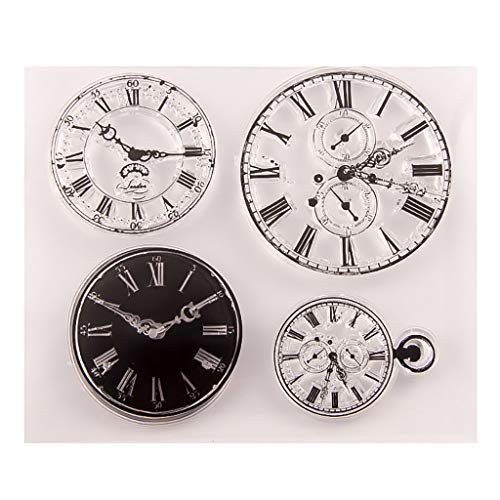 Mikilon Clock Clear Stamps Sheets Transparent Silicone Seal for DIY Scrapbooking Photo Album Car Making Decoration - Mini Album Stamp