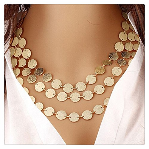 Hmlai Clearance! Women Girl Personalized Multi-Layer Metal Clothing Accessories Bib Chain Necklace Jewelry Gift (Glod)
