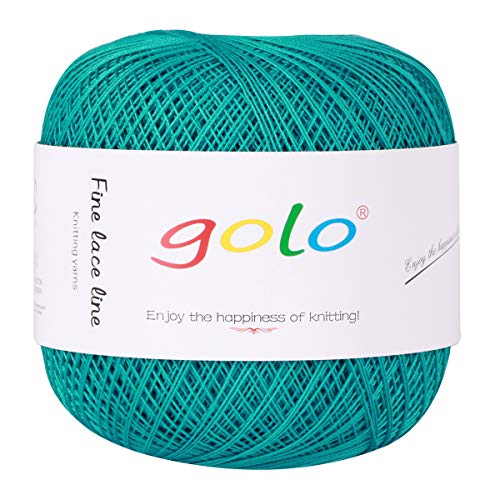 Crochet Thread Yarns for Begingers Size8-100% Contton Yarn for Knitting Crochet DIY Hardanger Cross Sitch Crochet Thread Balls Rainbow Turquoise 31 Colors Avilable (Blue) (Best Yarn To Make A Blanket)