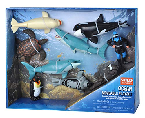 Wild Republic Ocean Moveable Action Playset, Aquatic Animals, Kids Gifts, Shark Toys, 11-Pieces ()