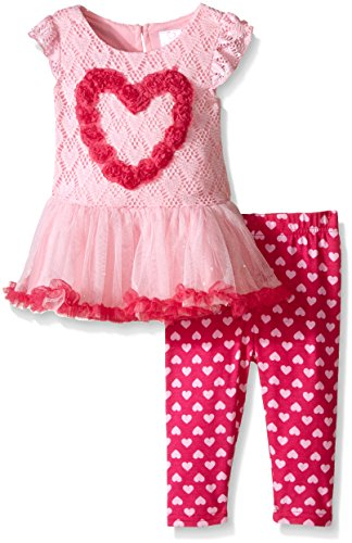 (Youngland Baby Girls' Crochet Lace Rosette Heart Applique Tutu Dress and Legging Set, Pink, 12 Months)