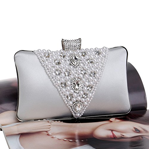With Bag Shoulder Evening Included Hand Chain Pearl Silvery Bag Clutch q5XwYwx