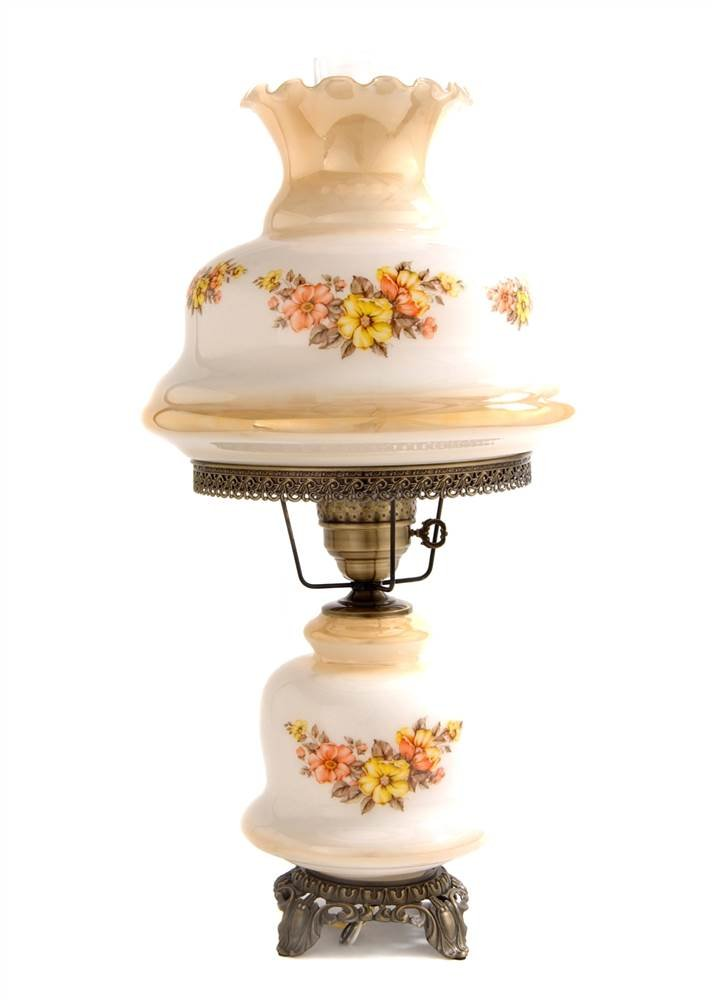 27 in. Rhombus Hurricane Table Lamp in Floral w 14 in. Shade