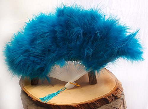 Quasimoon PaperLanternStore.com 11 Inch Turquoise Marabou Feather Chinese Folding Hand Fan for Weddings