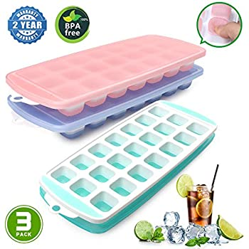 Ice Cube Trays, Ice Tray Food Grade Flexible Silicone Ice Cube Tray Molds with Lids, Easy Release Ice Trays Make 63-Ice Cube, Stackable Dishwasher Safe, ...