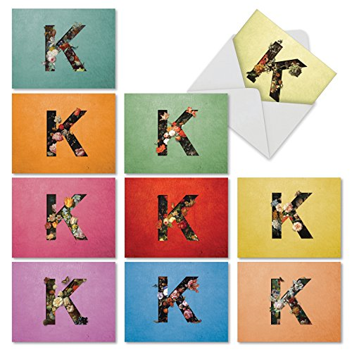que Blooms K' Greeting Cards - 10 Letter K Note Cards with Envelopes (4 x 5.12 Inch), Assorted Blank Stationery Set for Weddings, Baby Showers, Birthdays, Thank You M3838OCB-B1x10 ()