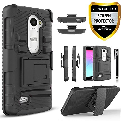 Price comparison product image LG Leon Case, LG Sunset Case, LG Power Case, LG Destiny Case, LG Risio Case, [Combo Holster] Phone Cover with [HD Screen Protector] Built-in Kickstand and Belt Clip + Circlemalls Stylus Pen -Black
