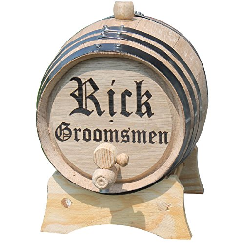 Customized 3 Liter Oak Whiskey or Wine Barrel with 2 Lines of Engraving - Monogrammed Wedding Groomsmen Gift - Personalized for Free