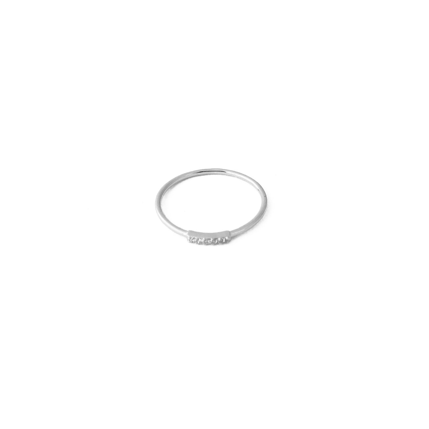HONEYCAT Mini Crystal Row Ring in Sterling Silver Plate | Minimalist, Delicate Jewelry (Silver 8)