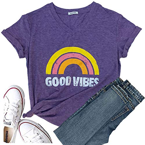 Best Work Graphic Tee - Good Vibes Shirt Womens Short Sleeve Graphic Tees Rainbow Print Funny T Shirts Cute Summer Tops V-Neck for Mom Girl Shopping (L, Purple)