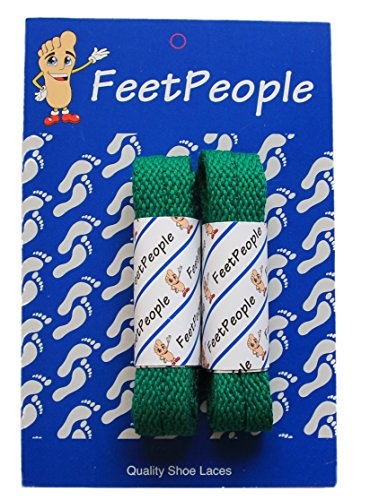 - FeetPeople Flat Laces, 2 Pair, Kelly Green, 45 inches x 2 Pair