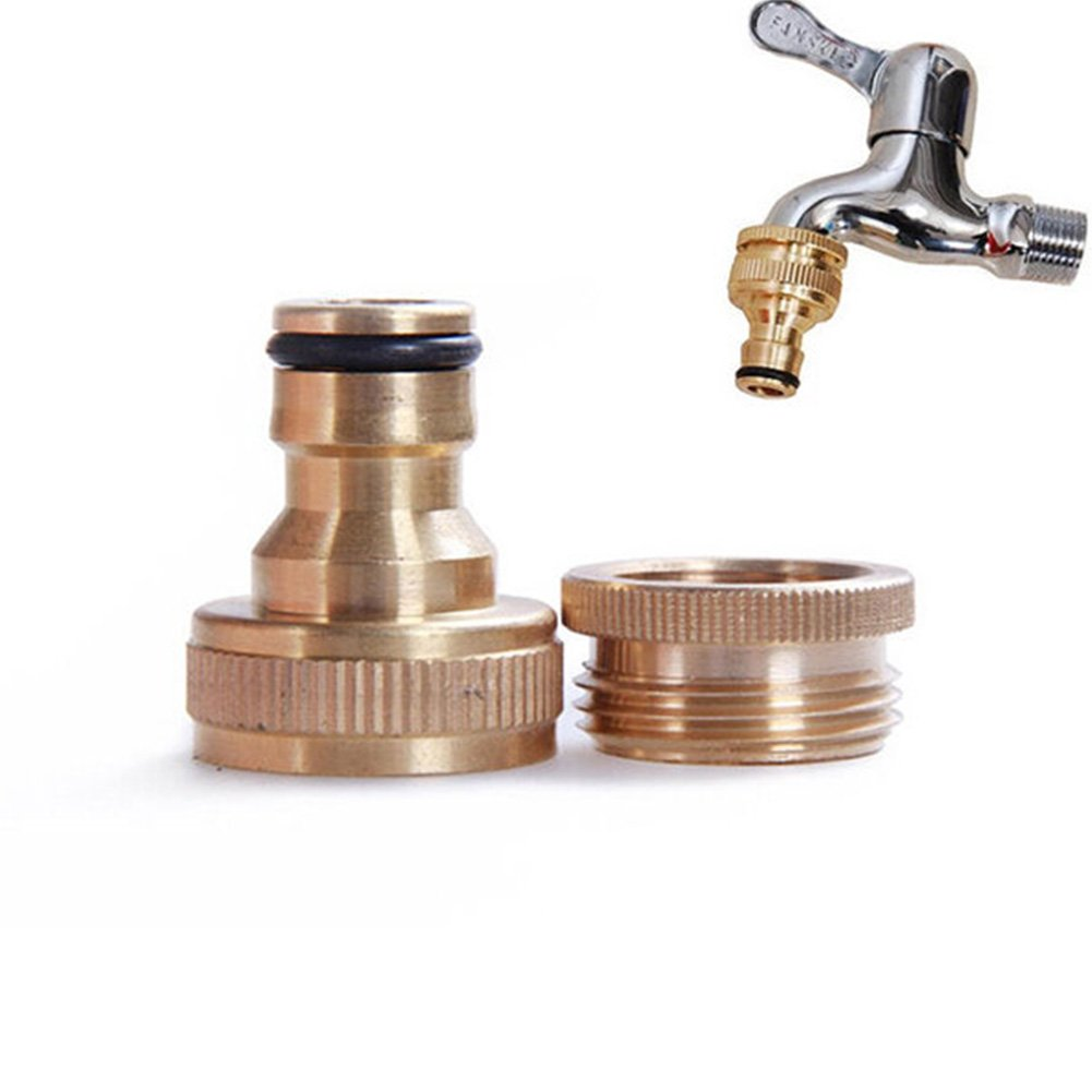 GETMORE7 Thread Connector, 3/4'' to 1/2'' Brass Full Copper 46 Points Standard Garden Faucet Water Hose Tap Connector Fitting Adapter Suitable for Washing Machine Connector