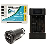 Olympus E-30 Battery with Universal Charger and Dual USB Car Charger - Replacement Olympus BLM5 Digital Camera Battery and Charger
