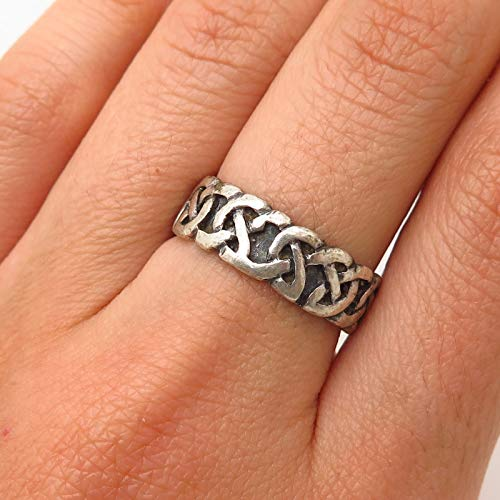 925 Sterling Silver Peter Stone Celtic Knot Design Band Ring Size 7 1/4 Jewelry by Wholesale Charms ()