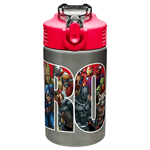 Zak Designs Marvel Universe - Stainless Steel Water Bottle with One Hand Operation Action Lid and Built-in Carrying Loop, Kids Water Bottle with Straw Spout is Perfect for Kids (15.5 oz, BPA Free)
