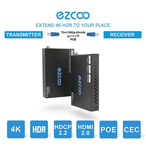 EZCOO 4K HDMI 2.0 Extender,HDBaseT Extender | Uncompressed 4K 60Hz HDR HDCP 2.2, 230ft 1080P, 130ft 4K via Single Cat5e/6a | Bi-directional PoE+IR, CEC, Dolby Atmos, (Hdmi Wireless Hdmi Extender)