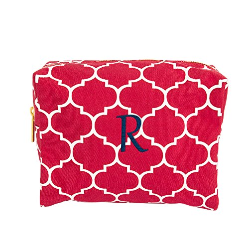 Cathy's Concepts Personalized Moroccan Lattice Cosmetic Bag, Coral, Letter R