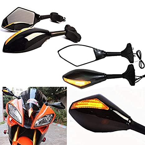 Amazon.com: Motorcycle LED Turn Signals Integrated Rearview ...