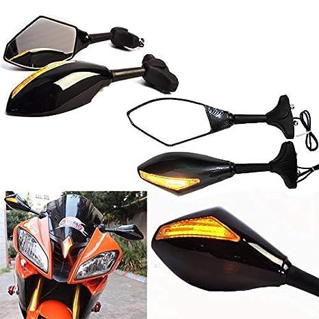 Amazon.com: Espejos retrovisores LED para motocicleta para ...