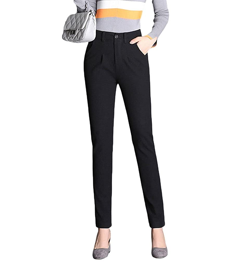 cd27a43f5f77 ZhiYuanAN Donna Tweed Pantaloni A Vita Alta Chic Caldo Leggings Comodi  Pantaloni Carotte Sportivi Joggings Casual Termici Harlan Pants: Amazon.it:  ...