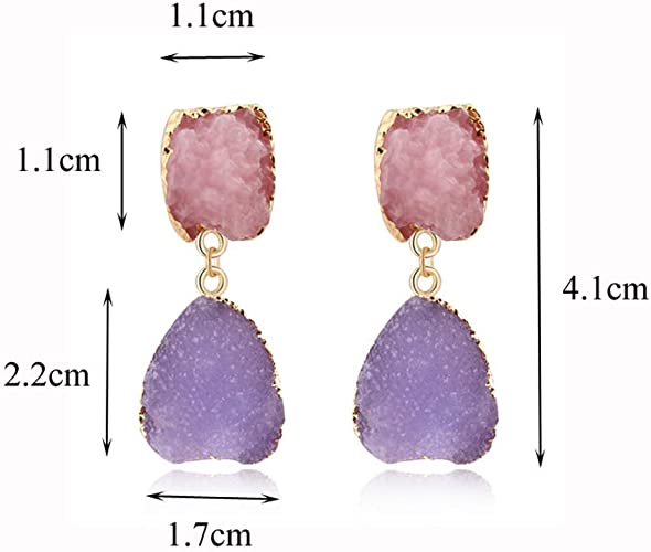 3 Pairs Random collocation Mix color stone Pave Rhinestone Quartz Druzy Stone Water Drop Earrings Jewelry Finding For Women ER569