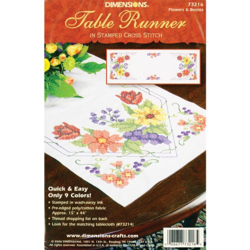 Dimensions Needlecrafts Stamped Cross Stitch, Flowers & Berries Table Runner