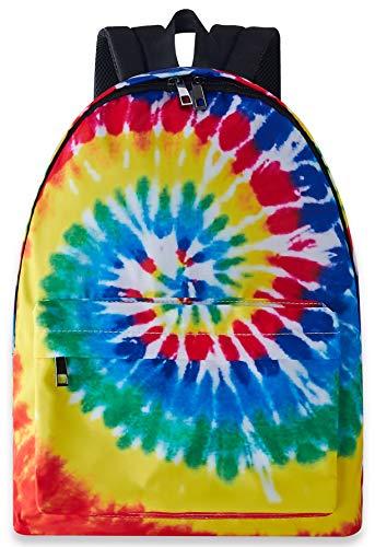 Tie Dye Back Bag for Teen Kids 3D Printed Rainbow Bookbags Cute Lightweight Durable Sports Backpacks Daypack for School Travel Hiking