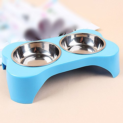 Pet Cat Puppy Heat-Resistant Bowl Stainless Steel Dog Dual Bowl Bone Shape Design Pot Travel Feeder Food Water Dish Pets Suppies Color: Blue by LEO_Pet supplies