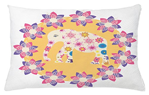 Ambesonne Kids Throw Pillow Cushion Cover, Colorful Natural Wildlife Animal with Various Flowers Cartoon Style Thai Baby Elephant, Decorative Accent Pillow Case, 26 W X 16 L inches, Multicolor by Ambesonne