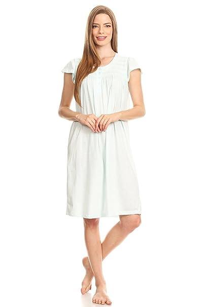 Lati Fashion 00126 Womens Nightgown Sleepwear Cotton Pajamas - Woman  Sleeveless Sleep Dress Nightshirt Green L 4cfdeeebe