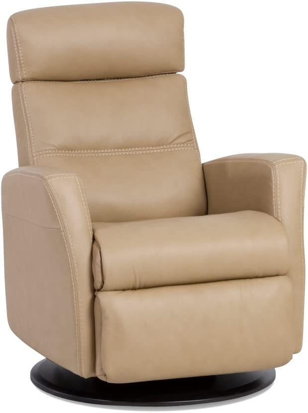 IMG Divani RG 325 Large Glider Relaxer Rocking Recliner Swivel Chair - Trend Sand Leather Manual Recline - Adjustable Headres - in-Home Delivery