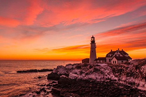 Portland Head Lighthouse Sunrise in January Photo Art Print Poster 18x12 inch