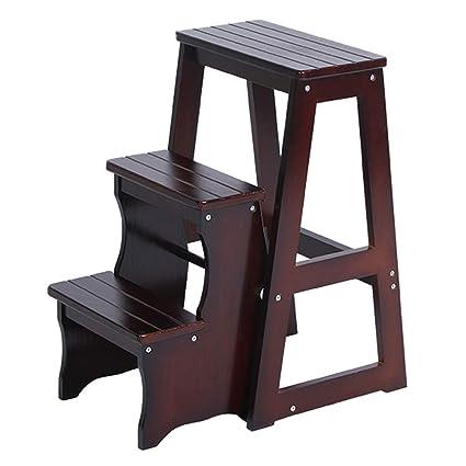 Miraculous Amazon Com Folding 3 Tier Steps Ladder Wood Multipurpose Dailytribune Chair Design For Home Dailytribuneorg