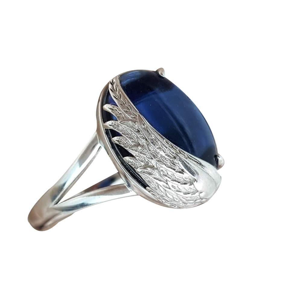 Fashion Women Faux Sapphire Angel Wing Engagement Finger Ring Jewelry Decor Best Gift for Mother Party Wedding Band Rings