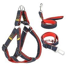 Dog Leash Harness 3 Pcs, Magicfly Dog Collars Harness & Dog Car Seatbelt Harness Set Denim No-Pull Dog Leash Collar for Small/Medium/Large Dogs, Dog Training Leash Collar for Walking or Running
