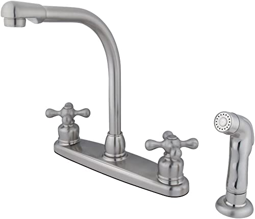 Kingston Brass GKB718AXSP Victorian 8-inch High Arch Kitchen Faucet Withsprayer, Brushed Nickel