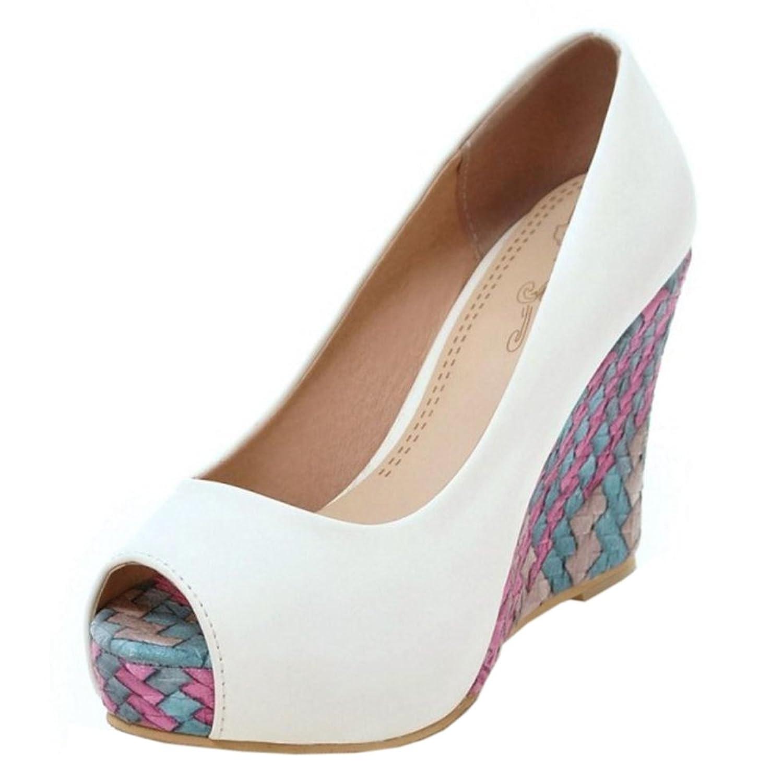 COOLCEPT Damen Peep Toe Pumps Keilabsatz White2018 Letztes Modell  Mode Schuhe Billig Online-Verkauf