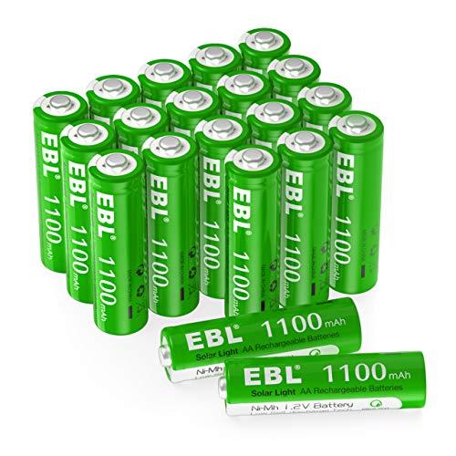 EBL Piles Rechargeable AA Solaire NiCd 1100mAh 1.2V, Piles de Lampe de Jardin, 8+ Ans de Performances, avec Boîte de Stockage de Piles, 20 Packs