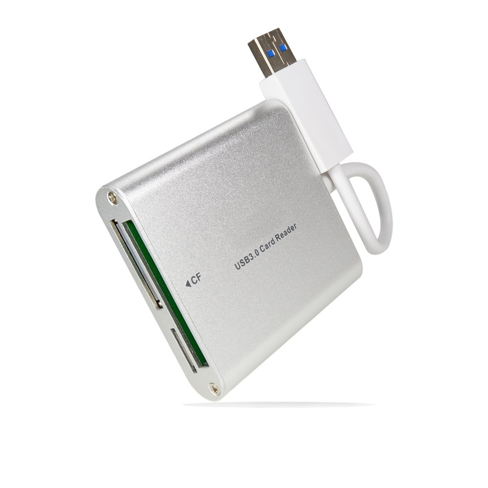 Foto&Tech Silver Aluminum Super Speed USB 3.0/USB 2.0 Multi in 1 Card Reader for CF/TF/Micro SD/SD/MD/MMC/SDHC/SDXC for Macbook Pro Mac All Laptop PC