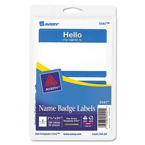 (Avery Name Badge Label - 2.31 Width x 3.37 Length - 2/Sheet - Removable - 100 / Pack)