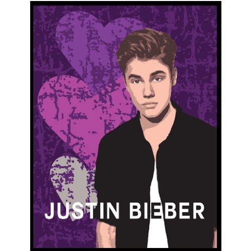 Justin Bieber Hearts Plush Twin Blanket - Purple Heartbreak Bedding Twin-Single Bed (Purple Justin Bieber Blanket)