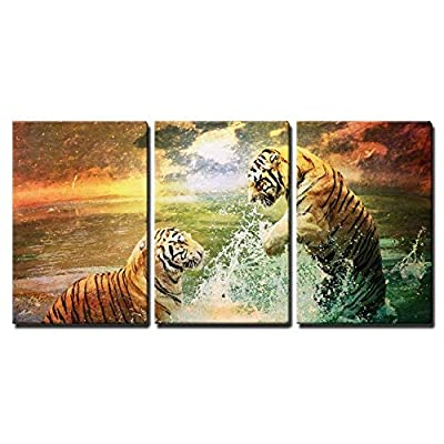 Tiger and Tigress Playing in The Sea x3 Panels, Made With Top Quality, Dazzling Work of Art