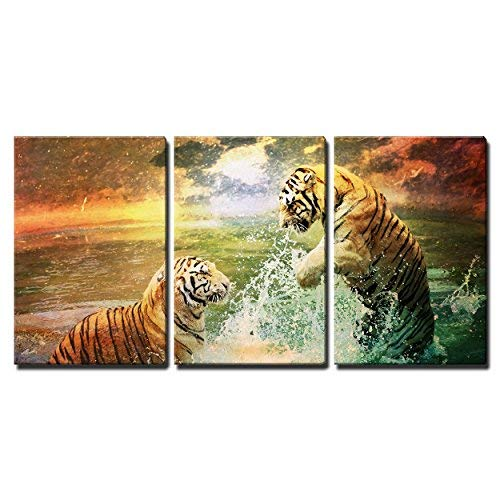 Romantic Tigers Playing In The Surf - 3 Panel Canvas Art