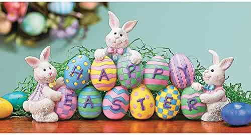 Fun Express - Resin Easter Egg Tabletop for Easter - Home Decor - Figurines - Molded - Easter - 1 Piece