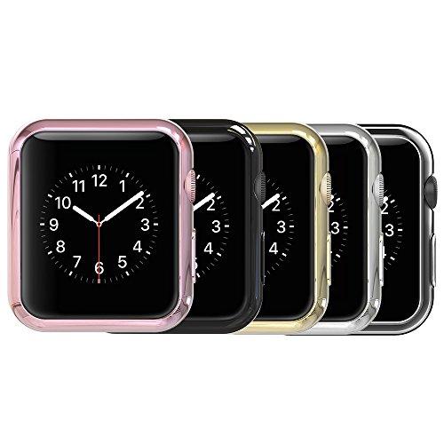Simpeak Case Frame for Apple Watch 38mm,[5 Packs] Simpeak Slim Scratch Resistant Soft Case for 38mm Apple Watch Series 2,Transparent, Black, Gold, Rose Gold, Silver by Simpeak (Image #1)