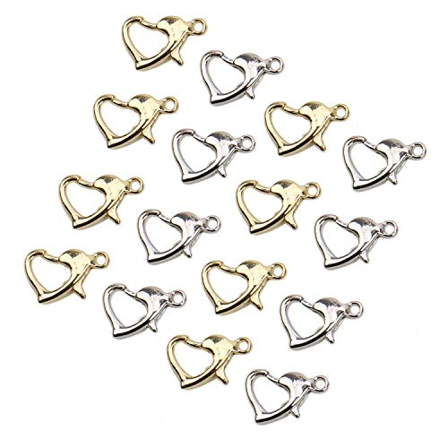 JETEHO 100 Pcs Heart Shaped Curved Lobster Clasps Lobster Claw Clasps Findings for Jewelry Making 10mmx8mm (Gold and Silver)
