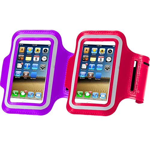 2pack Water Resistant Cell Phone Armband Case for iPhone X Xs Max, XR, 8 Plus, 7 Plus, 6 Plus, 6S Plus, Samsung Galaxy S9, S8 Plus, A8 Plus, Note 4/5/8 with Adjustable Band & Key Holder Purple+red
