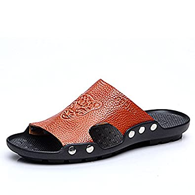 a5b7eb333f6 HITSAN INCORPORATION S-4066 Fashion Summer Men Leather Stylish Tiger  Pattern Special Sole Beach Shoes Slippers Sandals Color Brown Size 44  Buy  Online at ...