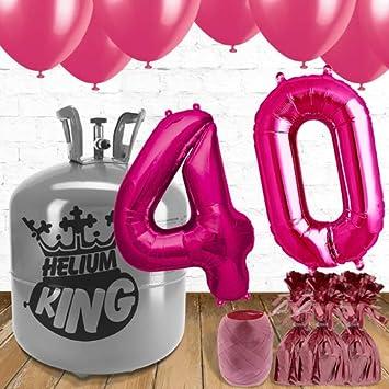 Helium King Paquete de Gas de Helio para 40 cumpleaños con ...
